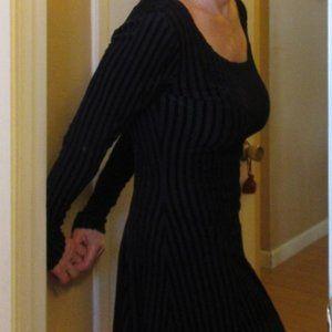 Betsey Johnson Black Velvet Striped Evening Dress